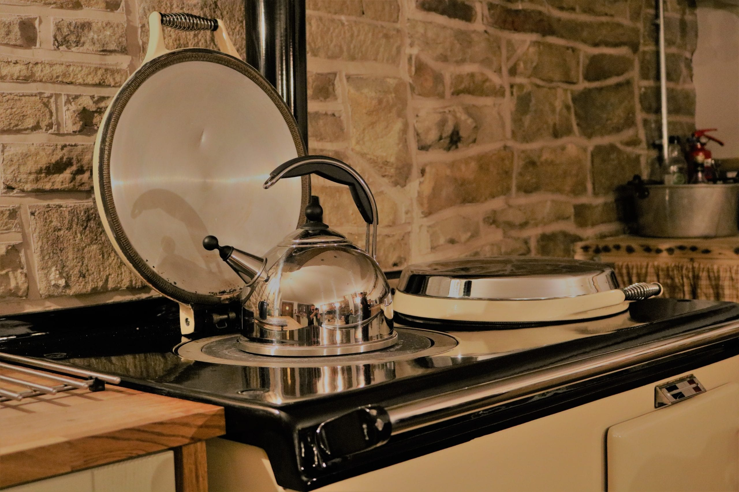 Kettle on arger in kitchen at Love Cottage from Heritage Cottages a beautiful Holiday cottage in Holmfirth, Last of the summer wine county